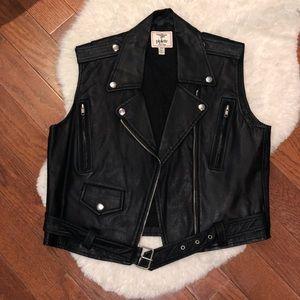 Piplette faux leather Black moto vest
